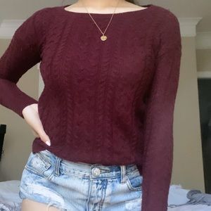 American Eagle Maroon Cable Knit Sweater